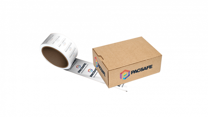 printed tape and boxes