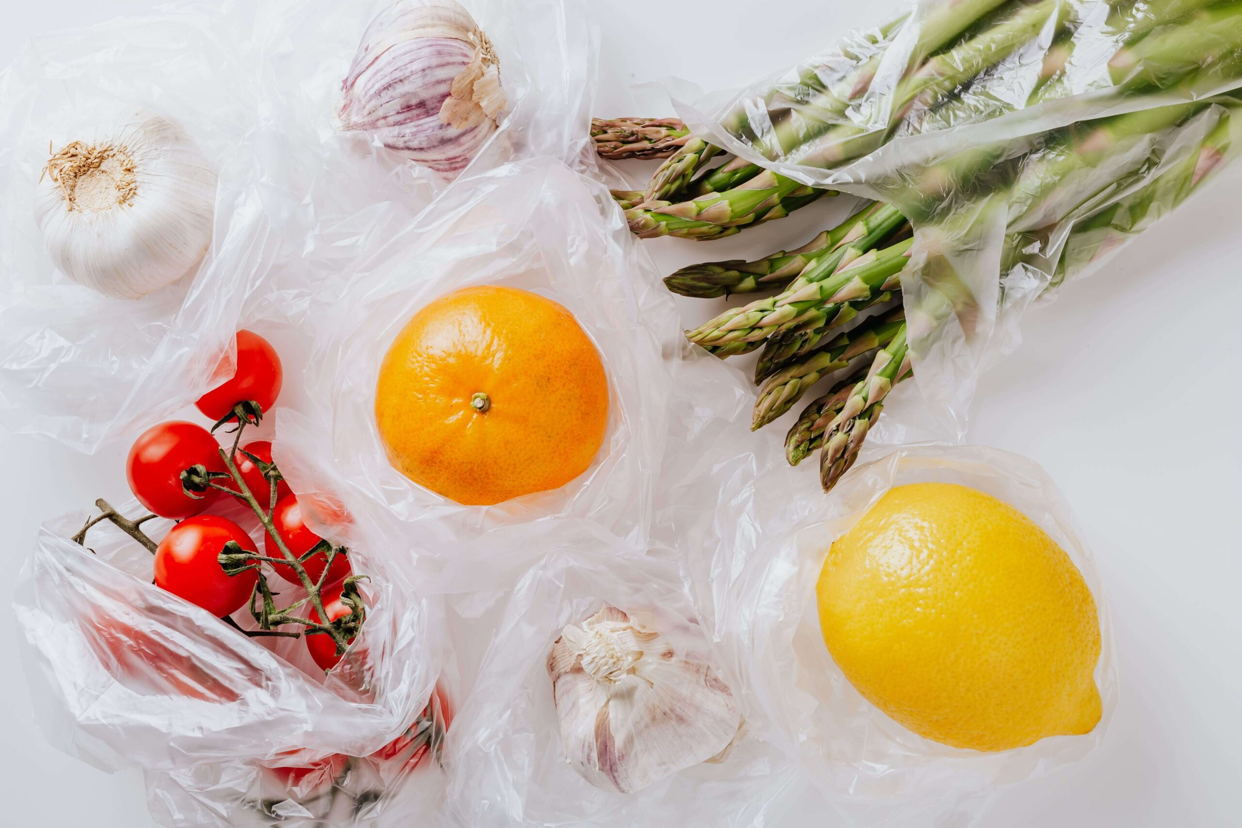 Variety of food in polythene bags